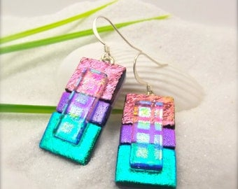 Dichroic glass earrings, Hana Sakura, dichroic earrings, fused glass, unusual earrings, statement jewelry, striped earrings, handmade gifts
