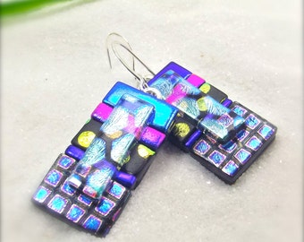 Glass fusion, fused dichroic glass, dichroic earrings, Fused jewelry, statement earrings, Hana Sakura, Gifts for her, unique statement piece