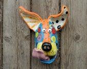 Small Dog Mask Ceramic Wall Hanging Handmade by Dottie Dracos, Wild Wild Things; ceramic dog mask dog mask, 313174