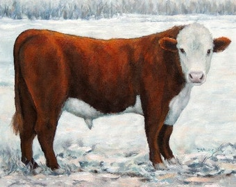 "Hereford, Red Bull, Bull Art, Cow Art, Farm Animal, White Face, in Snowy Field, Original 16x20"" Painting,  Stretched Canvas, Dottie Dracos"