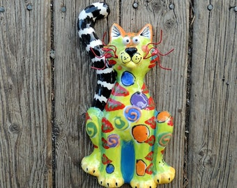 Smaller Sitting Cat Ceramic Wall Hanging, Ball Eyes, Handmade by Dottie Dracos, ID 411172