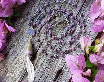 Long Layering Boho Crochet Necklace, Boho Necklace, Bohemian Necklace, Layering Necklace, Purple Necklace, Hawaii Shell Necklace, Druzy