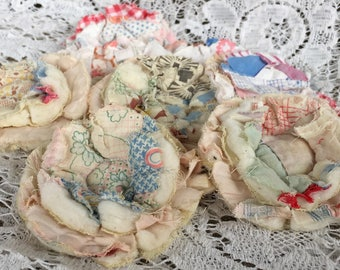 2 upcycled fabric flowers, cottage chic flower, gift top, lot flower supplies, scrap flowers shabby upcycled quilt flower scrap appliques