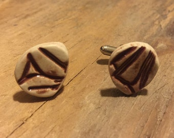 Handmade Ceramic Cuff Links - Red