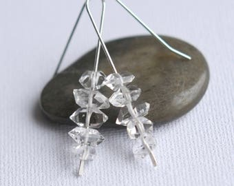Sterling Silver Herkimer Diamond Earrings, April Birthstone, Herkimer Diamond Jewelry, Herkimer Diamond Nugget Jewellery, Quartz Nuggets