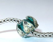 Luccicare Lampwork Bead - Teal Lotus -  Lined with Sterling Silver