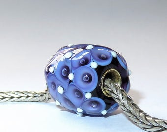 Luccicare Lampwork Bead - Purple Harlequin - FOCAL - Lined with Brass