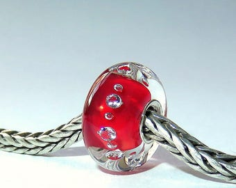 Luccicare Lampwork Bead - Red Diamonds - Lined with Sterling Silver