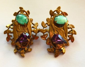 Peking Glass and Amethyst Tear Drop  Vintage Victorian Style Revival Ornate Filigree Gold tone Clip Earrings