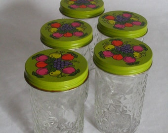 ball quilted crystal jelly jars vintage. vintage ball quilted crystal jelly jar-fruit twist off lid 4\ jars