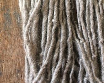 Smoke grey yarn, handspun alpaca and wool, grey undyed yarn, 48 yards, bulky handspun natural local fiber, eco friendly art yarn
