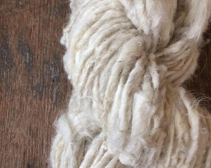 """Reserved for Eeckenrode Icelandic wool """"Greta"""", 37 yards, handspun icelandic wool, undyed rustic wool yarn, natural white handspun yarn"""