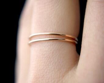 Set of 2 Medium Thickness Rose Gold fill stacking rings, thin rose gold fill ring, hammered rose gold stack rings, 14k rose gold fill rings