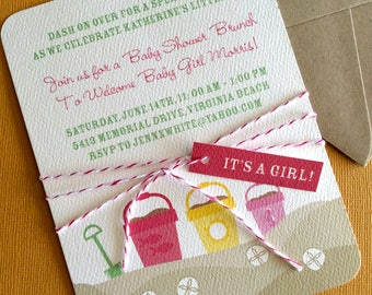 Girl Beach Party invitation, set of 5- great for showers and birthdays