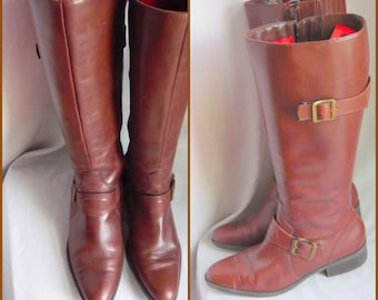 Vintage NATURALIZER Zippered Riding  Boots / size 7 M  Eu 37 .5 Uk 4 .5 / HARNESS Flat Knee  Boot Chestnut Brown Leather / made BRAZIL