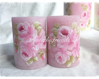 """PILLAR Pink Candle Shabby Chic 4"""" Hand Painted PINK Hand Painted Roses ECS sct schteam SVFTeam"""