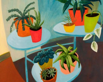 Botanical Painting Still Life Potted Plants Oil on Canvas