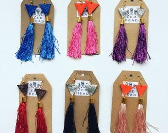 Leather and Tassel Handmade Dangle Earrings Geometric hook jewellery