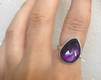 Amethyst faceted ring - recycled sterling silver - made to your size