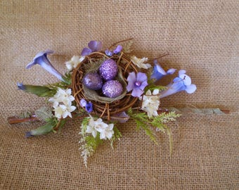 blue and purple birds faerie nest fairy bird eggs floral centerpiece flower arrangement home decor shabby chic decoration Mother's Day gift