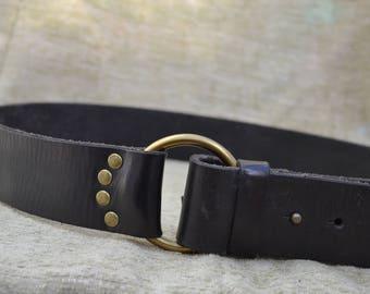 Black Leather Belt, GAP Belt, Womens Belt, Vintage Leather Belt, Size Medium Belt, 34-36 Inch Waist