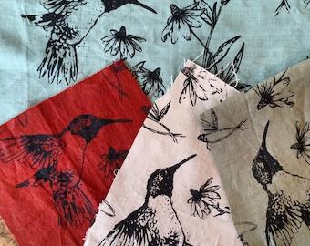 Hummingbird Fabric Bag Large - Grey Custom Colors Available Hobo Bag - - 3 Pockets Key Fob - Hand printed linen