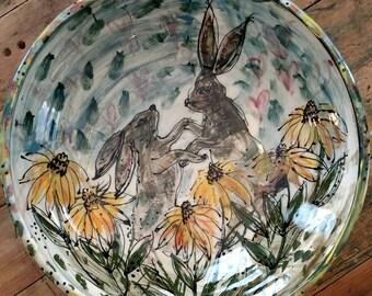 Dancing Rabbit Bowl - Large Mixing Bowl Size