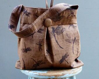 Dragonfly Brown Bag Large - Grey Hobo Bag - - 3 Pockets Key Fob - Hand printed linen