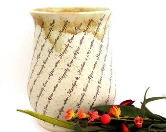Personalized Wedding Vase - Anniversary Vase - Personalized Vase - Hand Thrown Ceramic Vase - Ready to Finish