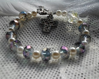 Amethyst AB crystal & pearl Rosary bracelet with silver cross and toggle