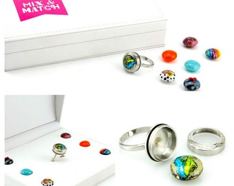 Sale- Milticolor Circlel Ring - Lampwork Jewelry - Glass Bead Jewelry - Interchangeable -UNIQUE Ring, everyday jewelry, Glass