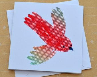 Parrot Small Screenprinted Card