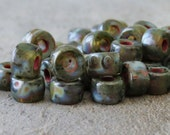 Steel Blue Picasso 4x6mm Czech Glass Roller Bead : 25 pc Blue Picasso Large Hole Pony Bead