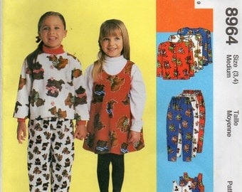 McCall's 8964 Children's Unlined Jacket,Jumper and Pull-On Size 3,4 Uncut Pattern