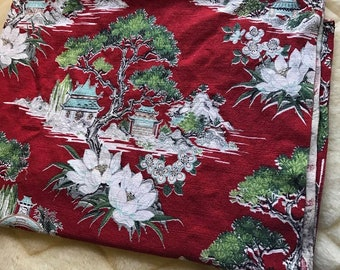 """Vintage Asian Print Barkcloth 