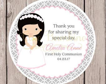 Girls First Holy Communion Favor Tags or Stickers in Pink and Silver Gray / Choose Hair & Skin Color / Set of 12 - HC02