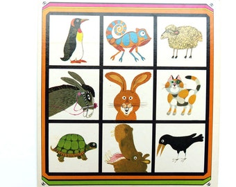 Vintage Animal Art Board Game Print - 1970s Dutch Litho Wall hanging Nursery Decor - Wall Decor - Childrens room - Ready to Frame Zoo
