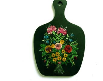 Vintage Wooden Cutting Board - Dark Green Handpainted Flowers 1980s Wood Wall Hanging Kitchen Decor - Signed