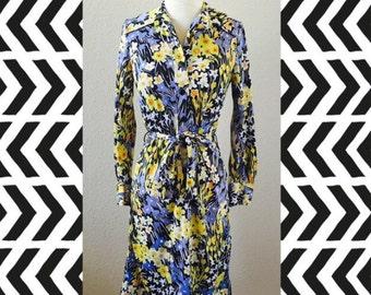 Vintage Vera Floral Dress Retro 1970s M