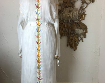 Fall sale 1970s dress ethnic dress gauze dress size medium Vintage dress festival dress bohemian dres maxi dress