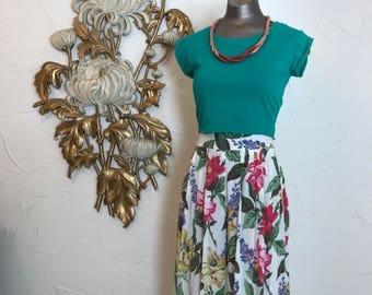 1980s gauchos floral pants vintage culottes size x small cropoed pants rayon pants 25 waist summer pants