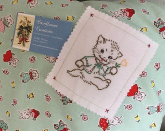 Kittens And Bunnies - Hand Embroidered - Standard Size Pillowcase - Red / White Ploka Dot Trim