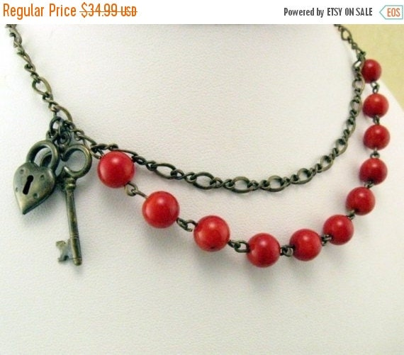 Sale 20% off Heart and Lock Red Necklace with Red Bamboo Coral, Gift for Her Jewelry