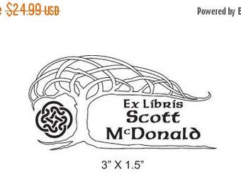 Gift for Grads 15% Off Celtic Knot Tree Personalized Bookplate Ex Libris Rubber Stamp H09