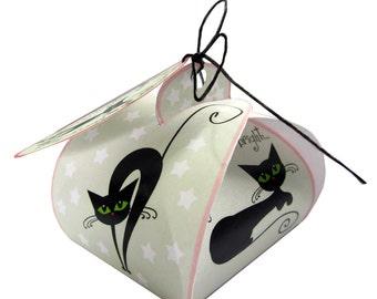 Digital download Christmas favor box, black cat; printable Christmas gift box