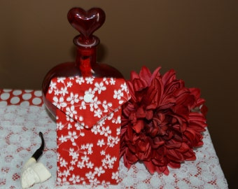 Pot Pouch in a bold red and white floral print