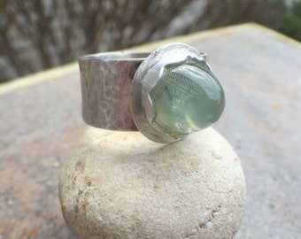 20% Off - Prehnite  Sterling Silver Wide Band Ring - US Size 8