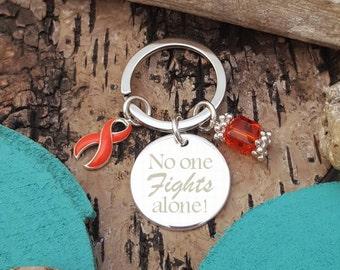 RO-3 No One Fights Alone Keychain, RSD, Leukemia, Multiple Sclerosis, Self Harm, Chronic Illness, Awareness