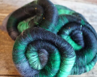 1 oz Rolags, Superfine Merino, Merino, Angelina, Sparkle, Phat Fiber, March
