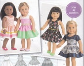 """Simplicity 8192 American Girl 18"""" Doll Clothes Dress Skirt Overlay Sewing Pattern New UNCUT"""